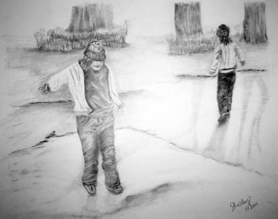 Drawing - Fun On The Ice by Shelley Bain