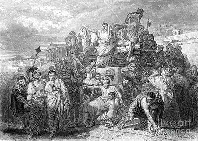 Funeral Of Julius Caesar, 44 Bc Art Print by Photo Researchers