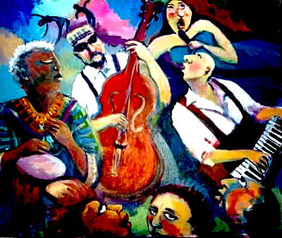 Painting - Funky Blues by Anne Marie Bourgeois