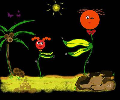 Funky Flowers Dance In The Sun  Art Print by Jan Steadman-Jackson