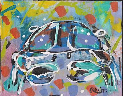 Folk Art Mixed Media - Funky Folk Crab 2012 by Robert Wolverton Jr