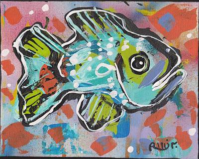 Post Contemporary Painting - Funky Folk Fish 2012 by Robert Wolverton Jr
