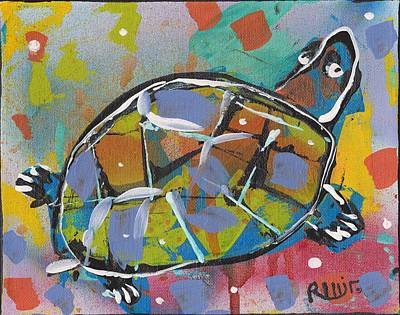 Post Contemporary Mixed Media - Funky Folk Turtle 2012 by Robert Wolverton Jr