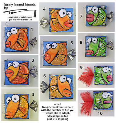 Painting - Funny Finned Friends by Tim Nyberg