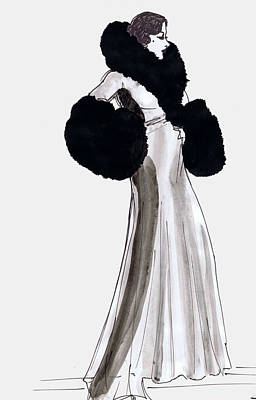 Gloria Drawing - Fur Coat by Mel Thompson