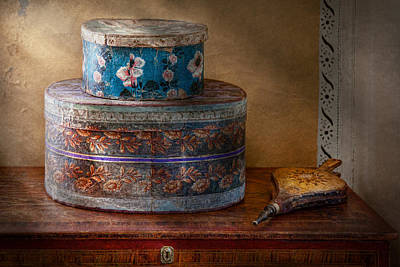 Photograph - Furniture - Hat Boxes With Billow by Mike Savad