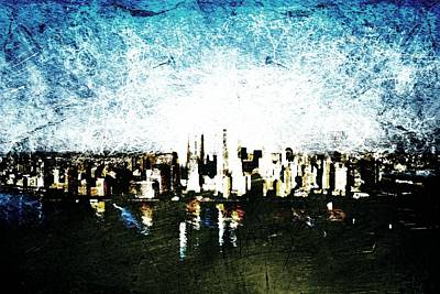 Art Print featuring the digital art Future Skyline by Andrea Barbieri