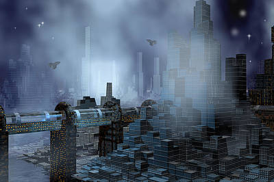 Eerie Digital Art - Futuristic City Of Tomorrow by Carol and Mike Werner