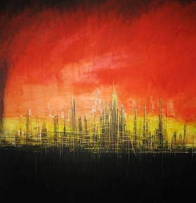 Painting - Futuristic Cityscape by CRISTIAN Vega-Rojo