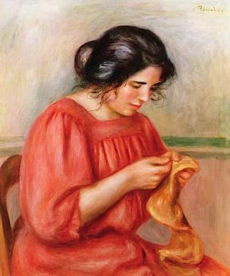 Mending Painting - Gabrielle Darning by Pierre Auguste Renoir