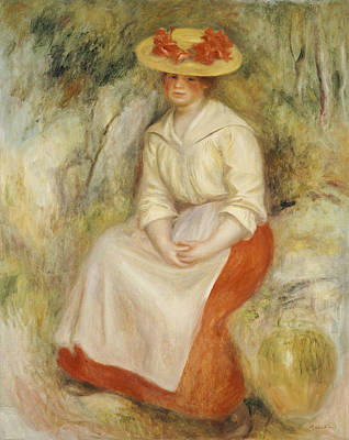Full Skirt Painting - Gabrielle In A Straw Hat by Pierre Auguste Renoir