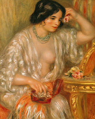 Woman With Black Hair Painting - Gabrielle With Jewellery by Pierre Auguste Renoir