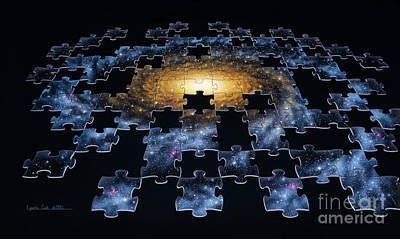 Airbrush Photograph - Galaxy Puzzle by Lynette Cook