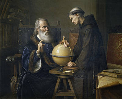 Inventions Painting - Galileo Galilei Demonstrating His New Astronomical Theories At The University Of Padua by Felix Parra