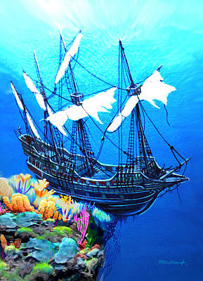 Painting - Galleon On The Cliff Filtered by Duane McCullough