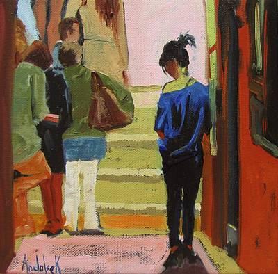 Queue Painting - Gallery Opening Queue by Barbara Andolsek