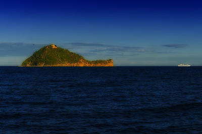 Photograph - Gallinara Island With Cruise Liner by Enrico Pelos
