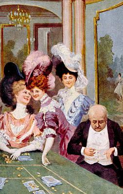 Gambling, Roulette Table, C. 1900 Art Print by Everett