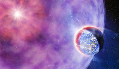 Gamma Ray Burst Hits Earth Print by Detlev Van Ravenswaay