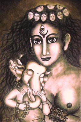 Hindu Goddess Drawing - Ganesha  And Kali by Sri Mala