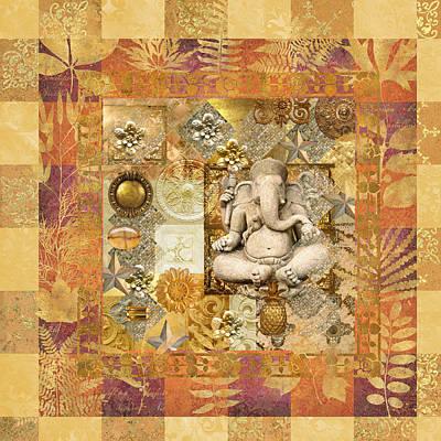 Brass Leafs Digital Art - Ganesha Bliss by Susan Ragsdale