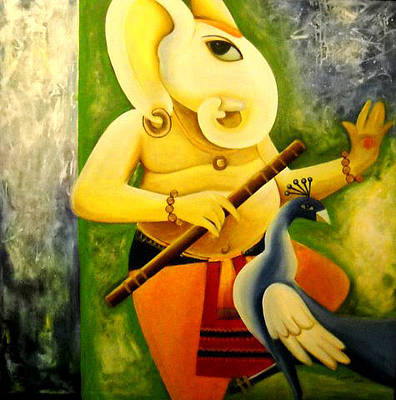 Indian Contemporary Artist Painting - Ganesha by Shikha Agnihotri