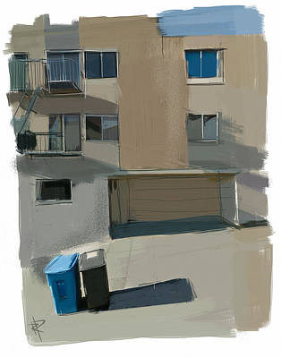 Apartment Mixed Media - Garbage Day On Dolores Street by Russell Pierce
