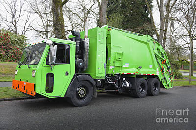 Garbage Truck Parked On A Street Art Print by Don Mason