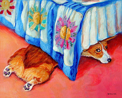 Quilt Portrait Painting - Garbo - Pembroke Welsh Corgi by Lyn Cook