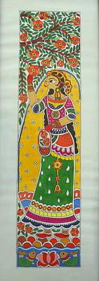 Madhubani Painting - Garden Beauty Plucking Flowers- Madhubani Painting by Aboli Salunkhe