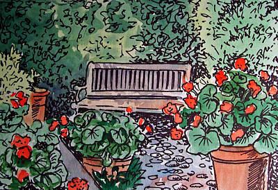 Sketchbook Painting - Garden Bench Sketchbook Project Down My Street by Irina Sztukowski