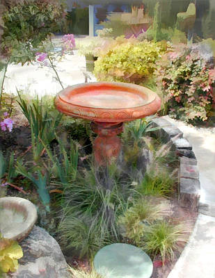 Bird Bath Painting   Garden Birdbath By Elaine Plesser