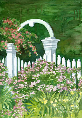 Impatients Painting - Garden Circle Gate by Audrey Peaty