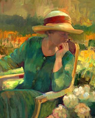 Contemplative Painting - Garden Contemplation by Sally  Rosenbaum