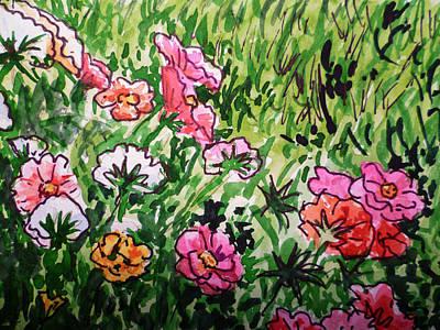 Garden Flowers Sketchbook Project Down My Street Art Print by Irina Sztukowski