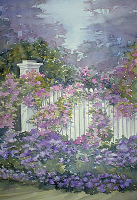 Painting - Garden Gate Roses by Audrey Peaty