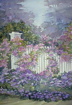 Garden Gate Roses Art Print