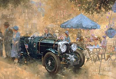 Vintage Cars Painting - Garden Party With The Bentley by Peter Miller