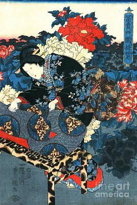 Utagawa Kunisada Photograph - Garden Peonies Triptych 1850 Right by Padre Art