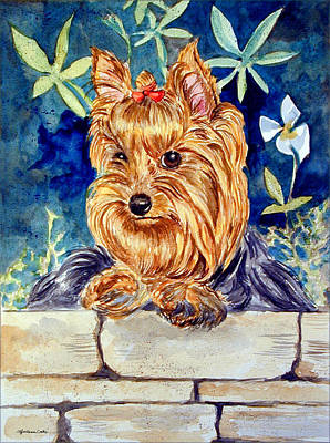 Yorkshire Terrier Puppy Painting - Garden Sprite - Yorkshire Terrier by Lyn Cook