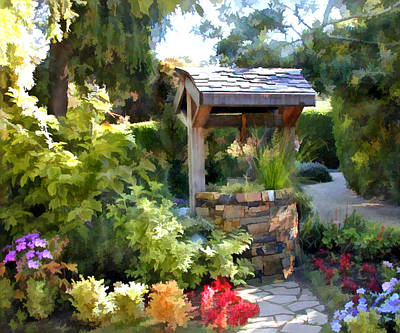 Wishing Well Digital Art - Garden Wishing Well by Elaine Plesser