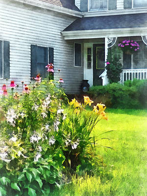 Garden With Coneflowers And Lilies Art Print by Susan Savad