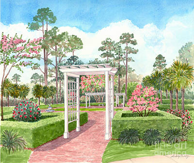 Painting - Garden With Pergola by Audrey Peaty