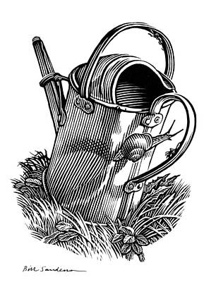 Linocut Photograph - Gardening, Conceptual Artwork by Bill Sanderson