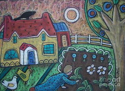 Oil Pastel Landscape Pastel - Gardening by Karla Gerard