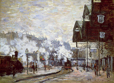 Platform Painting - Gare Saint-lazare by Claude Monet