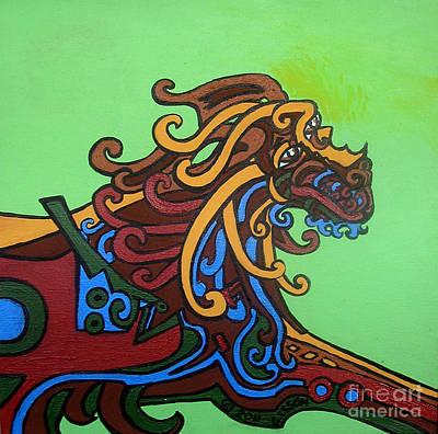 Metaphysical Painting - Gargoyle Dog by Genevieve Esson