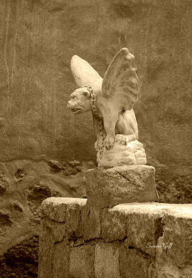 Photograph - Gargoyle In Sepia by Suzanne Gaff