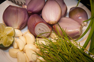 Scallion Photograph - Garlic And Onions by Frank Mari