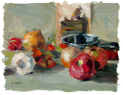 Garlic And Tomatoes Art Print by William Noonan